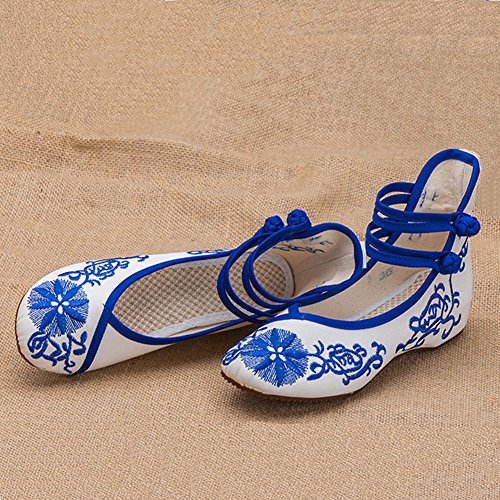 Shoes Blue Matched Cheongsam Casual Womens Chinese Shoes Dance TRq4xzw