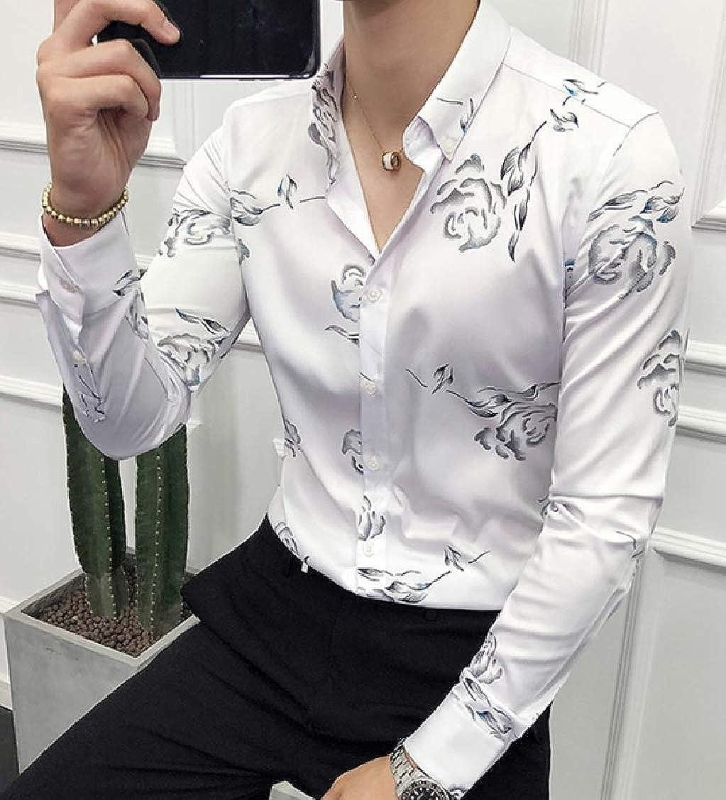Sayhi Men Turn Down Printing Long Sleeve Leisure Button Up Shirts