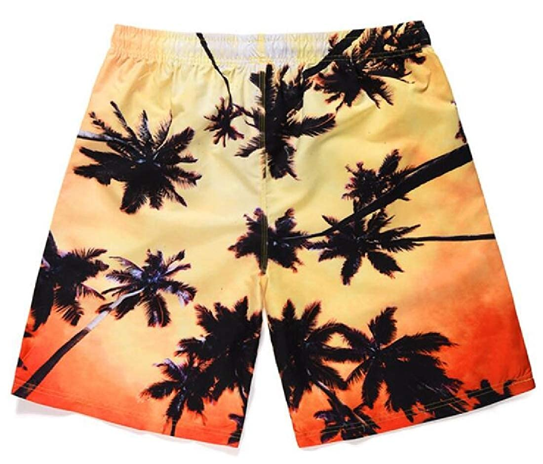 YYear Mens Summer Vogue Elastic Waist Drawstring Coconut Tree Printing Beach Shorts Boardshort Swim Trunk