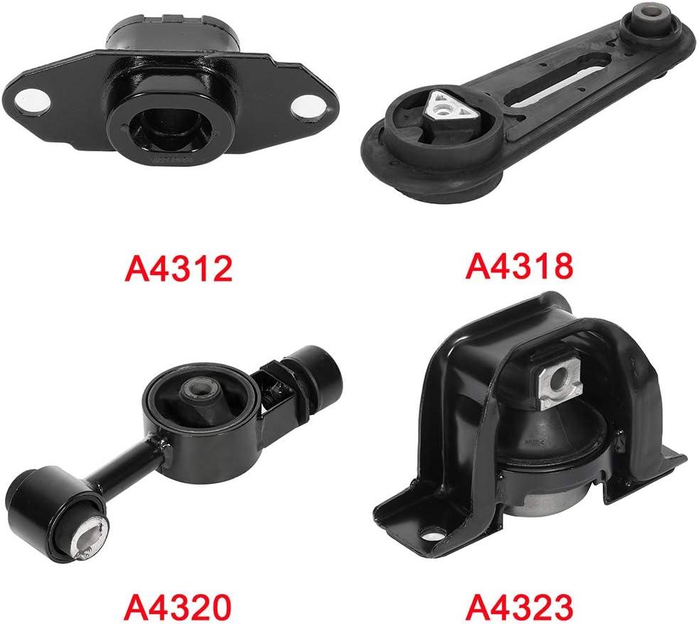 K0932 Fits 2009-2014 Nissan Cube 1.8L// 2007-2012 Versa 1.8L Motor /& Trans Mount Set 4PCS : A4323 A4318 A4320 A4312
