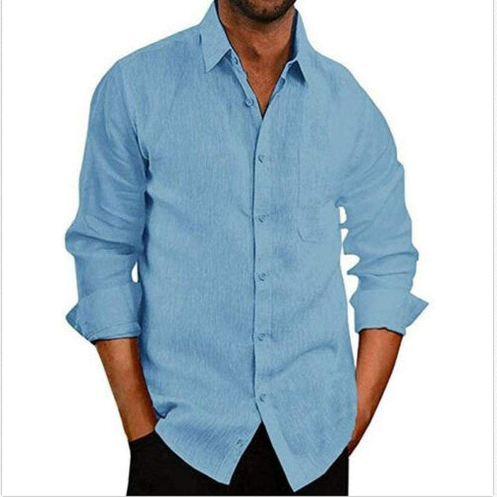 jiedream Mens Short Sleeve Shirts Solid Color Tops Spread Collar Tees Button Down Shirts