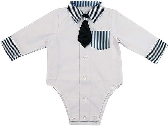 Camisa bebé niño niños Bautizo Body Camisa Boda Traje Body, 2 piezas, de color blanco azul KB2: Amazon.es: Ropa y accesorios