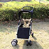 Kinbor Four Wheel Pet Stroller - Cat Dog Walk Travel Foldable Folding Carrier Strolling Cart (black)