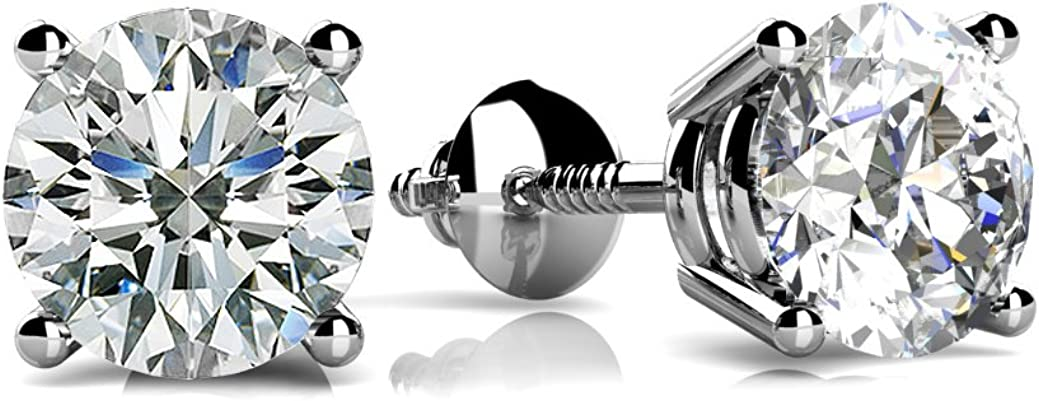 Round Brilliant Cut Cubic Zirconia CZ Martini Stud Earrings .925 Sterling Silver