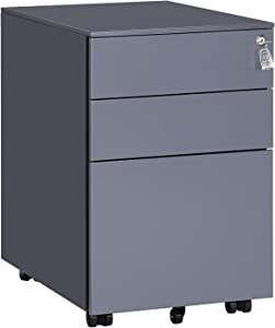 "SONGMICS Mobile Cabinet with 3 Drawers, Pre-Assembled, Lockable Steel Pedestal with Hanging File Rails, for Documents, Stationery, Gray UOFC60GB, 20.5""L x 15.4""W x 23.6""H"
