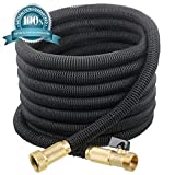 NEW 2017 GNOME Expanding Garden Hose 50 ft - No-Kink Flexible Expandable Water Hose | Heavy Duty USA Sized Solid Brass Connectors With On/Off Valve | Light Weight, Free Storage Bag.