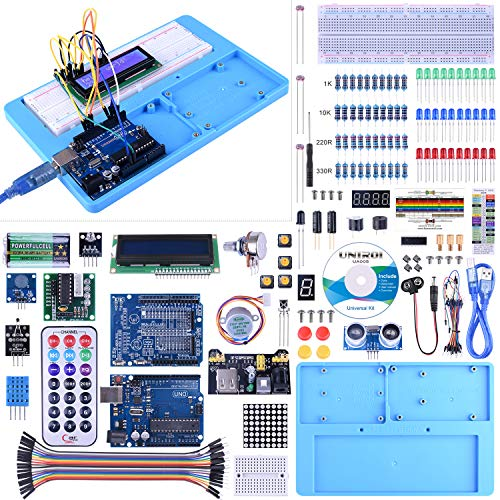 UNIROI for Arduino Starter Kit, Complete Electronic Kit for Arduino with Detailed Tutorials, RAB Holder, Breadboard for Arduino UNOR3 Mega 2560 Robot Nano (52 Items) UA005 (Best Arduino Starter Kit)