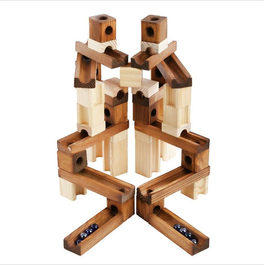 ZnMig Children 3-12 Years Old Wooden 60 Grain Pipe Building Blocks Puzzle Assembling Track Building Blocks Children's Toys Early Education Puzzle Building Blocks Toys