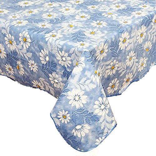 Fanjow PVC Tablecloth Flannel Backed Plastic Tablecloth Floral Table Cloth Waterproof Oil-proof Dining Table Cover Washable Table Protector (137cm183cm, Blue Daisy)