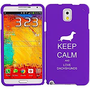 Samsung Galaxy Note 4 Snap On 2 Piece Rubber Hard Case Cover Keep Calm and Love Dachshunds (Purple)