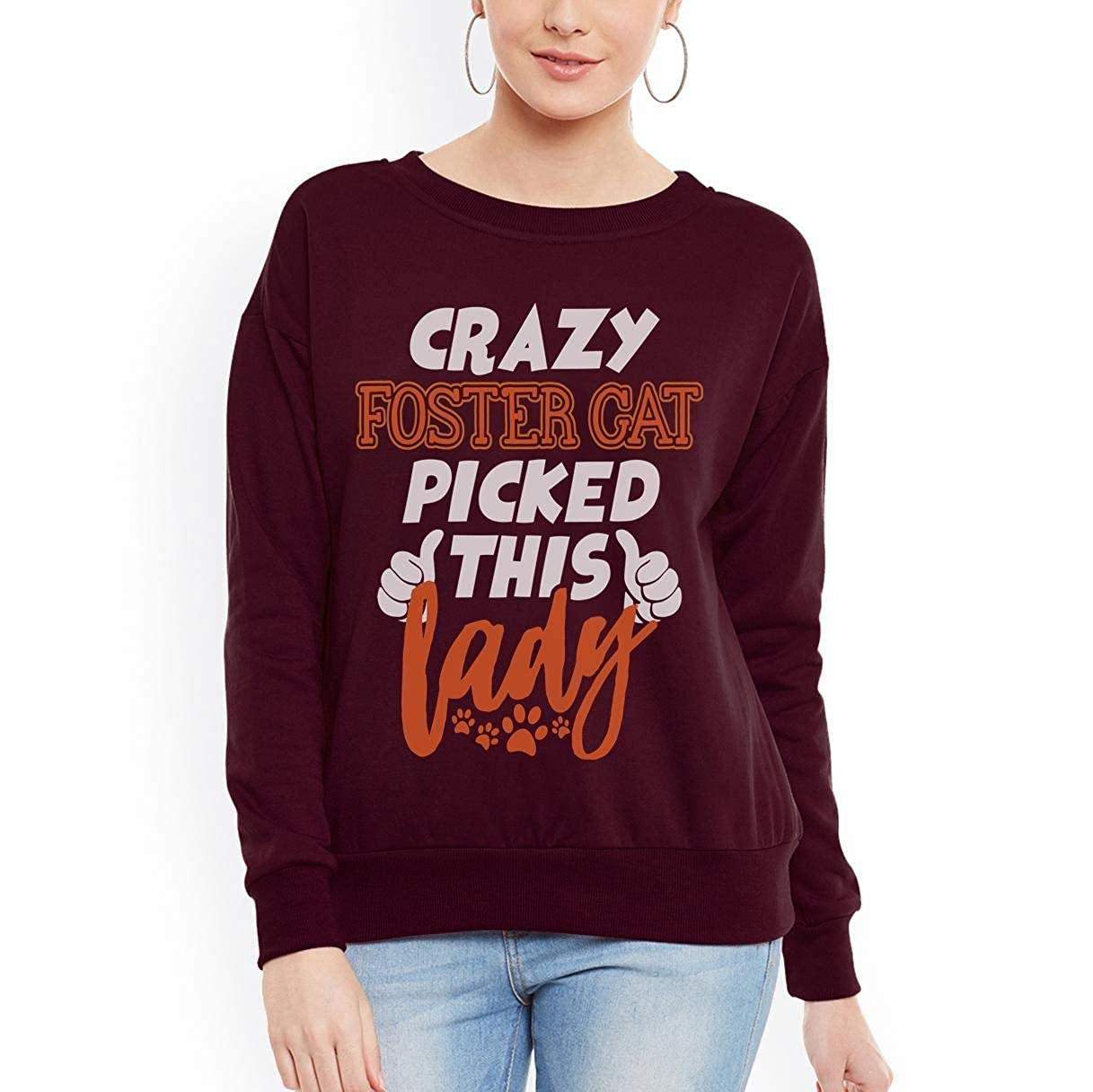 Crazy Foster Cat Picked This Lady Funny Women Sweatshirt tee