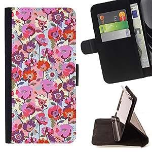 BullDog Case - FOR/HTC One M7 / - / floral spring rose pink red blue floral /- Monedero de cuero de la PU Llevar cubierta de la caja con el ID Credit Card Slots Flip funda de cuer