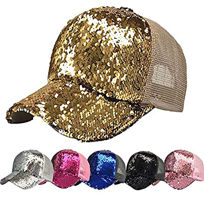 ZOMUSAR Women Ponytail Sport Messy Bun Ponytail Reversible Magic Sequin Adjustable Baseball Cap