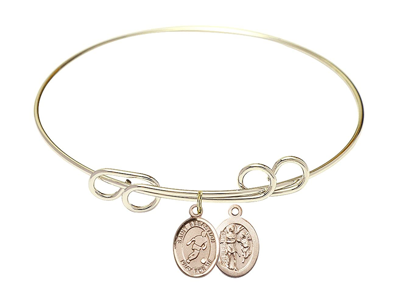 Sebastian//Soccer charm. 8 inch Round Double Loop Bangle Bracelet with a St