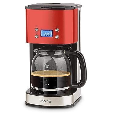 H.Koenig Cafetera de Goteo Programable, 12 Tazas, 1.5 Litro, 1000 W, Jarra de Vidrio, Rojo, Acero Inoxidable MG30, 1.8 litros, plástico: Amazon.es: Hogar
