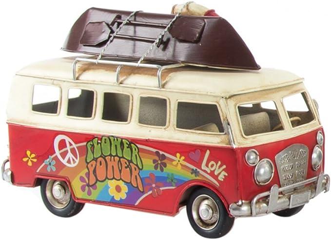 LB H&F Bus Camper groß XXL Blechmodell Retro Vintage 26cm handgefertigtes Blechmodell ROT HIP