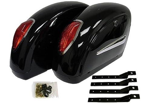 Amazon com: Black Hard Saddlebags For Suzuki Savage Intruder