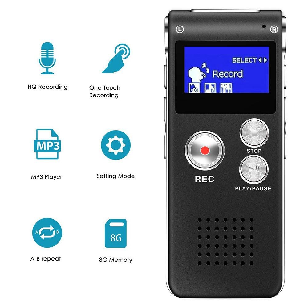 Digital Voice Recorder, niceEshop(TM) 8GB Multifunctional Rechargeable Dictaphone Stereo Sound Recorder HD Audio Recorder with MP3 Player for Meetings/Lectures/Classes/Interviews/Conversations, Black B07B8Z3K7Z