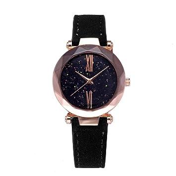 Reloj de Temperamento Elegante y Simple de la PU de Alta Calidad Diseño Estrellado del Cielo para los Hombres de Las Mujeres: Amazon.es: Deportes y aire ...