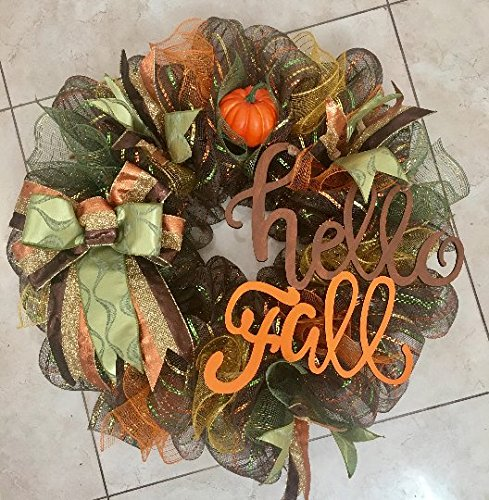 Fall Wreath with Wooden, Hand-Painted Sign &quotHello Fall&quot, Pumpkin and Gorgeous Bow