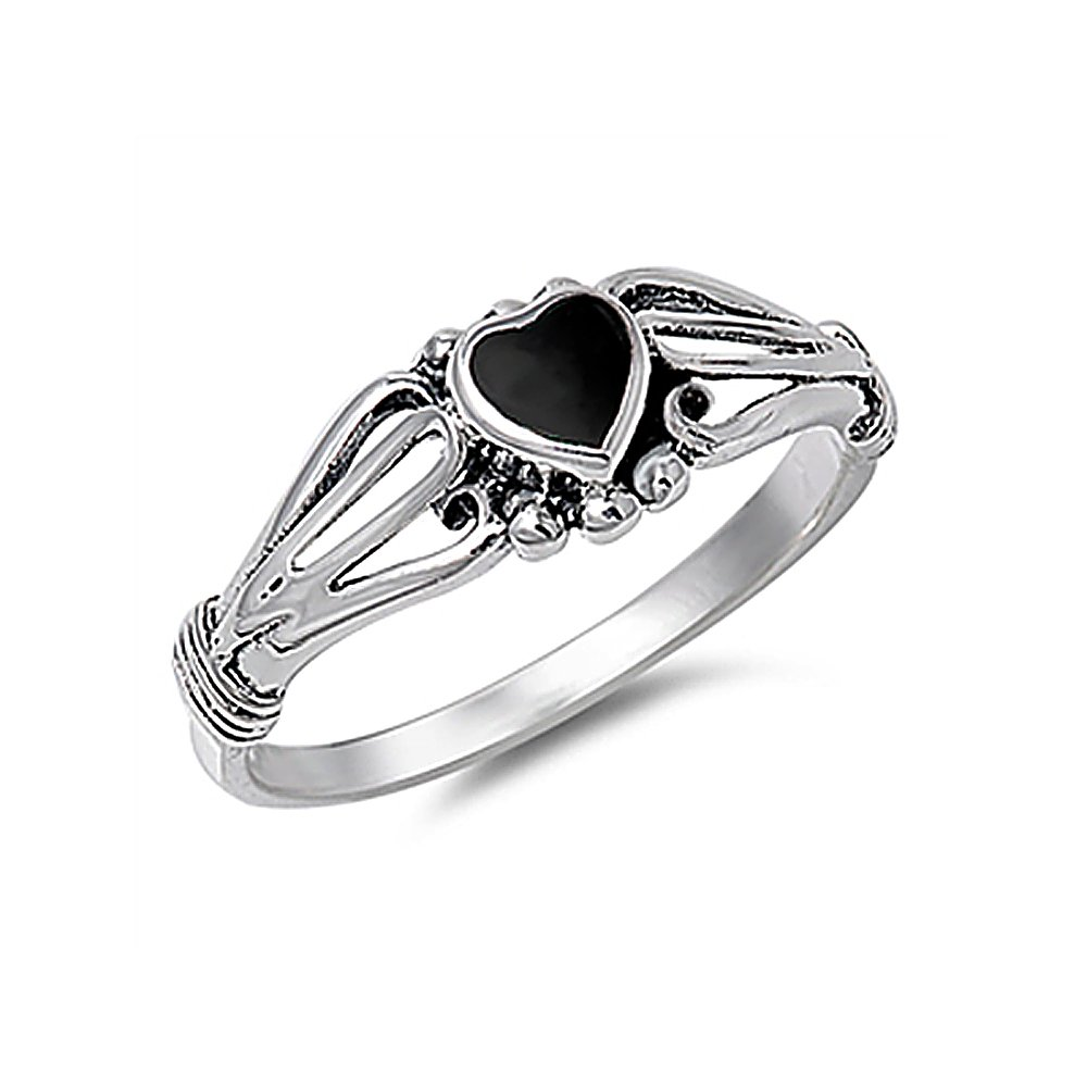 Sterling Silver Simulated Black Onyx Heart Promise Ring 7mm ( Size 4 to 10 )