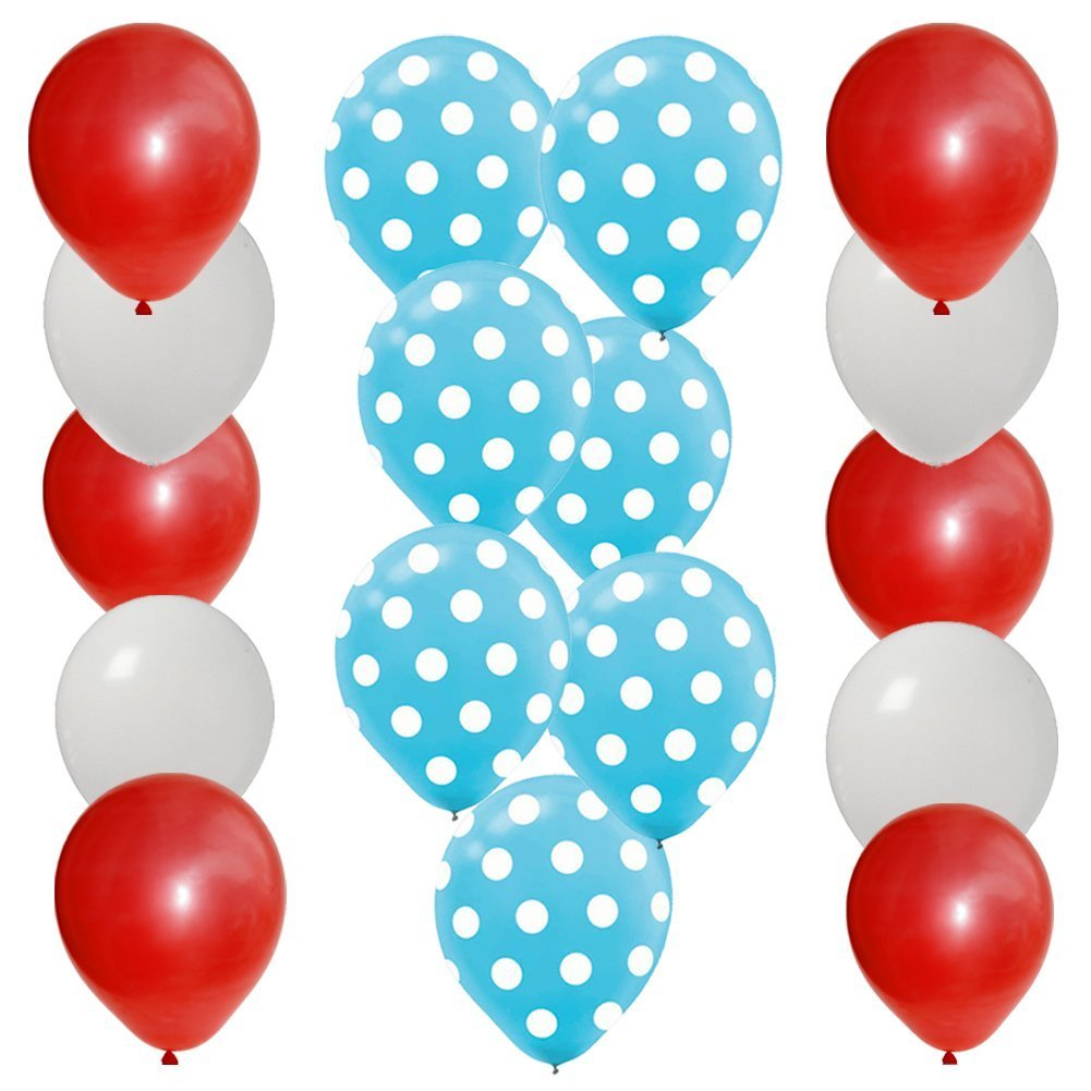 BirthdayExpress 30 pc Dr Seuss Cat in The Hat Party Balloon Kit: 12 Red 12 White 6 Blue w White Dot Latex