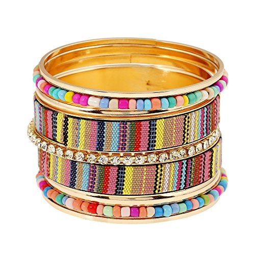 FEDONA Bohemian Multilayer Vintage Tassel Beaded Charm Gold Tone Cuff Wrap Bracelets for Women and (Beaded Watch Bracelet)