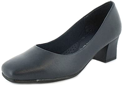 468a34c6eb2 New Womens Ladies Wide Fitting Court Shoes.(4.5Cm Heel) - Navy Blue ...