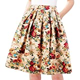 Musever Womens Pleated Vintage Skirts Floral Print Casual Midi Skirt