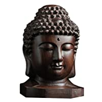 ULTNICE Religioso in legno Sakyamuni Buddha Head Figurine Statue Art Serenity Collection