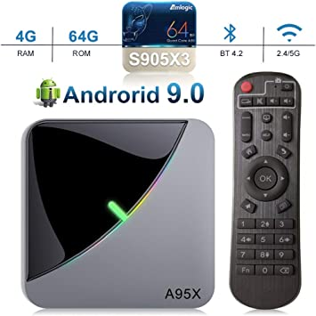 A95X F3 Air Android 9.0 TV Box, 4GB RAM 64GB ROM Smart TV Box with Amlogic S905X3 Quad-Core Cortex-A55 CPU, Support 2.4GHz/5GHz Dual WiFi /3D/4k/USB3.0: Amazon.es: Electrónica