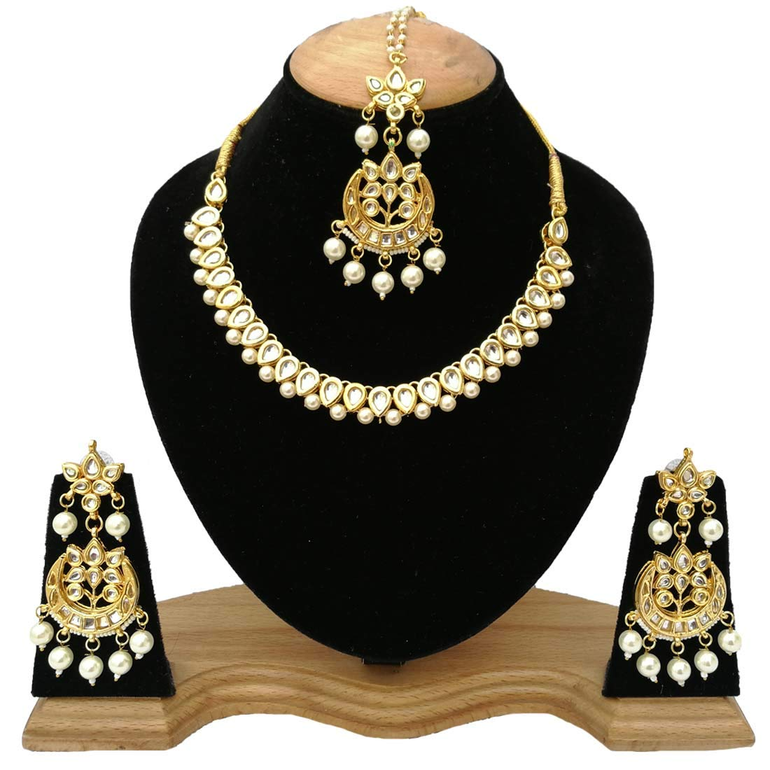 Fkraft Kundan Gold Plated Latest Wedding Necklace Jewelry Set for Women Self Handmade FMK-GLD076