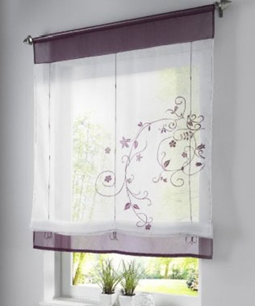 ZebraSmile Rod Pocket Embroidered Floral Semi Sheer Kitchen Voile Curtain for Window Roman Curtain Lifable Curtain Transparent Curtain, 24x 47 Inch, Gray lmseuih60120