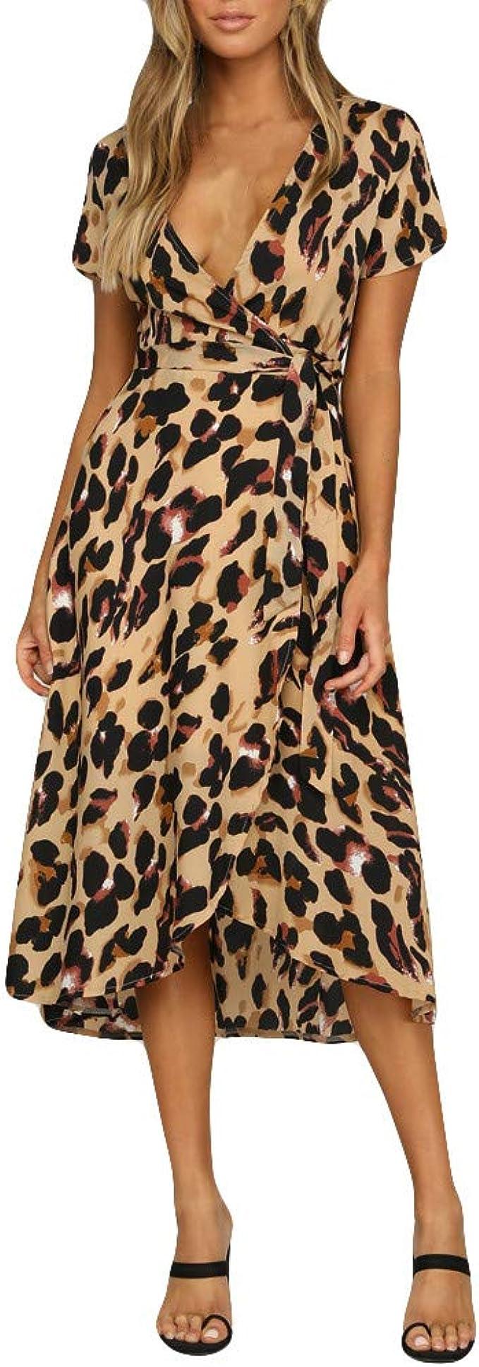 Sommer Kleid Kleider Sommerkleider Damen Leoparden Elegant Vintage
