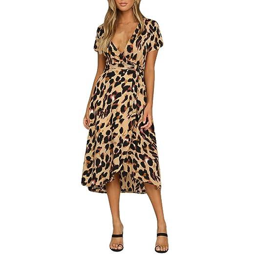 ac6490a5c02c ErYao Womens Leopard Print Boho Maxi Dress Ladies Holiday Long Short Sleeve  Dress£¨ Brown