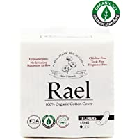 Rael 100% Organic Cotton Panty Liners, Long - 1Pack/ 18 total - Unscented Pantiliners - Natural Daily Pantyliners