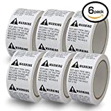 6 Rolls/3000 Labels,Suffocation Warning,Keep Away from Small Children,2'' X 2'' Removable Label Stickers
