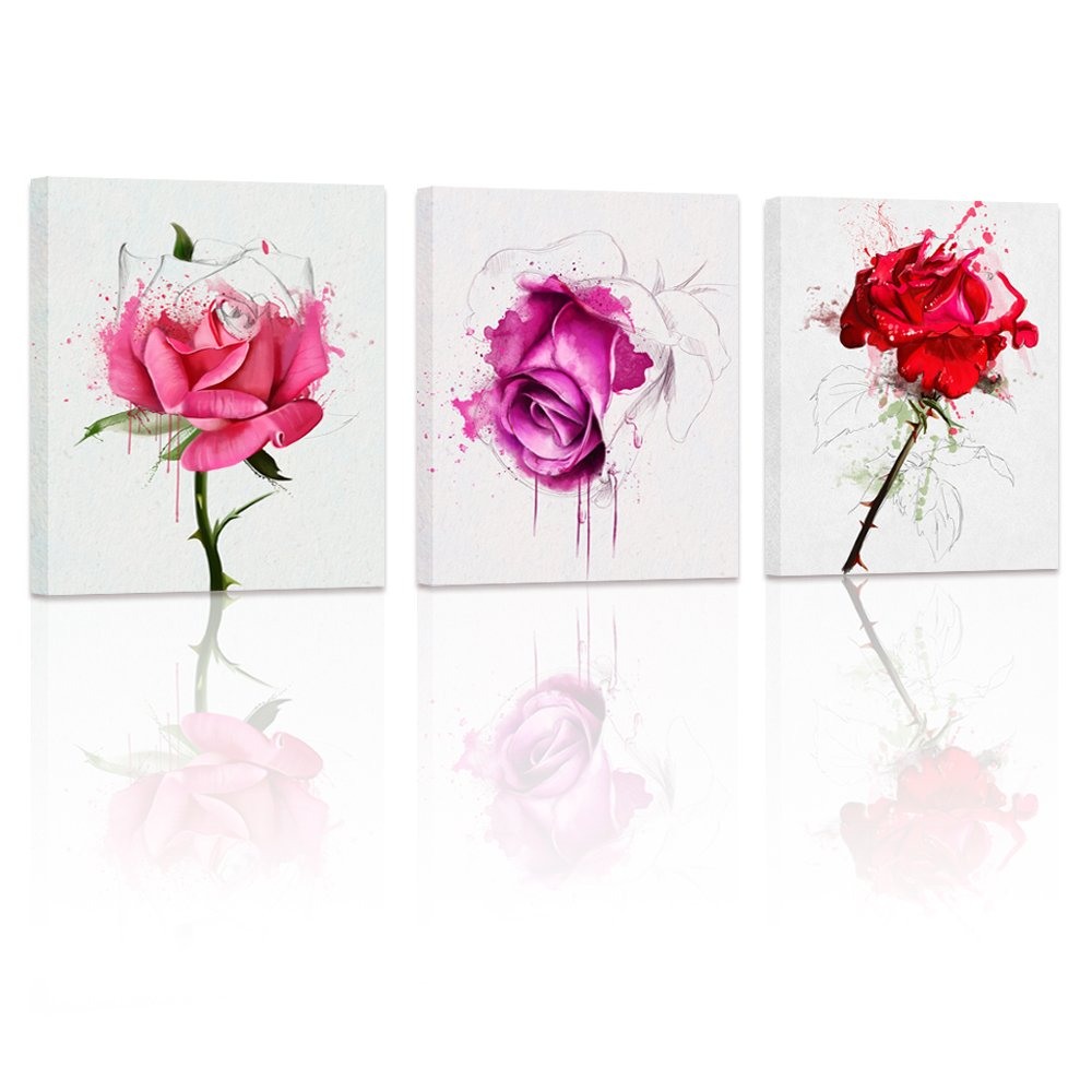 Amazon.com: Rose Flowers Canvas Wall Art Decor Unique Rose ...