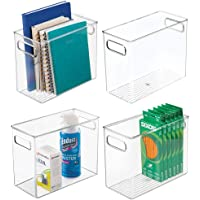 mDesign Plastic Home, Office Storage Organizer Bin with Handles - Container for Cabinets, Drawers, Desks, Workspace…