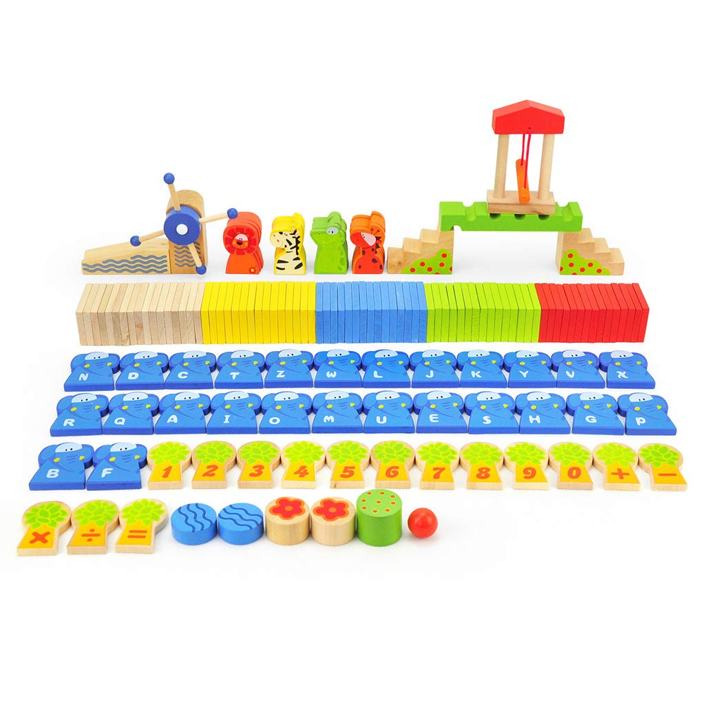 パズル子供のおもちゃ150カプセルバレルドミノ英数字のおもちゃ、遊び想像   B07LFFHL8F