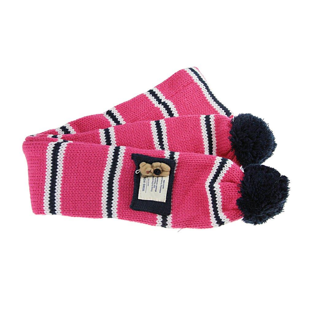 Cute Kids Boys Girls Autumn Winter Knitted Wool Pom Pom Beanie Hat and Scarf Set