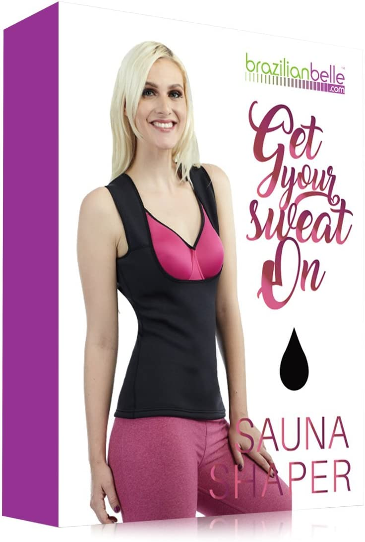 Brazilian Belle Best Skinny Body Shaper for Women Weight Loss- All in One Fat Loss Waist Trimmer, Trainer Cincher- Neoprene Workout Enhancer for Gym, Yoga, Zumba High Cardio- 100 Flexible Vest