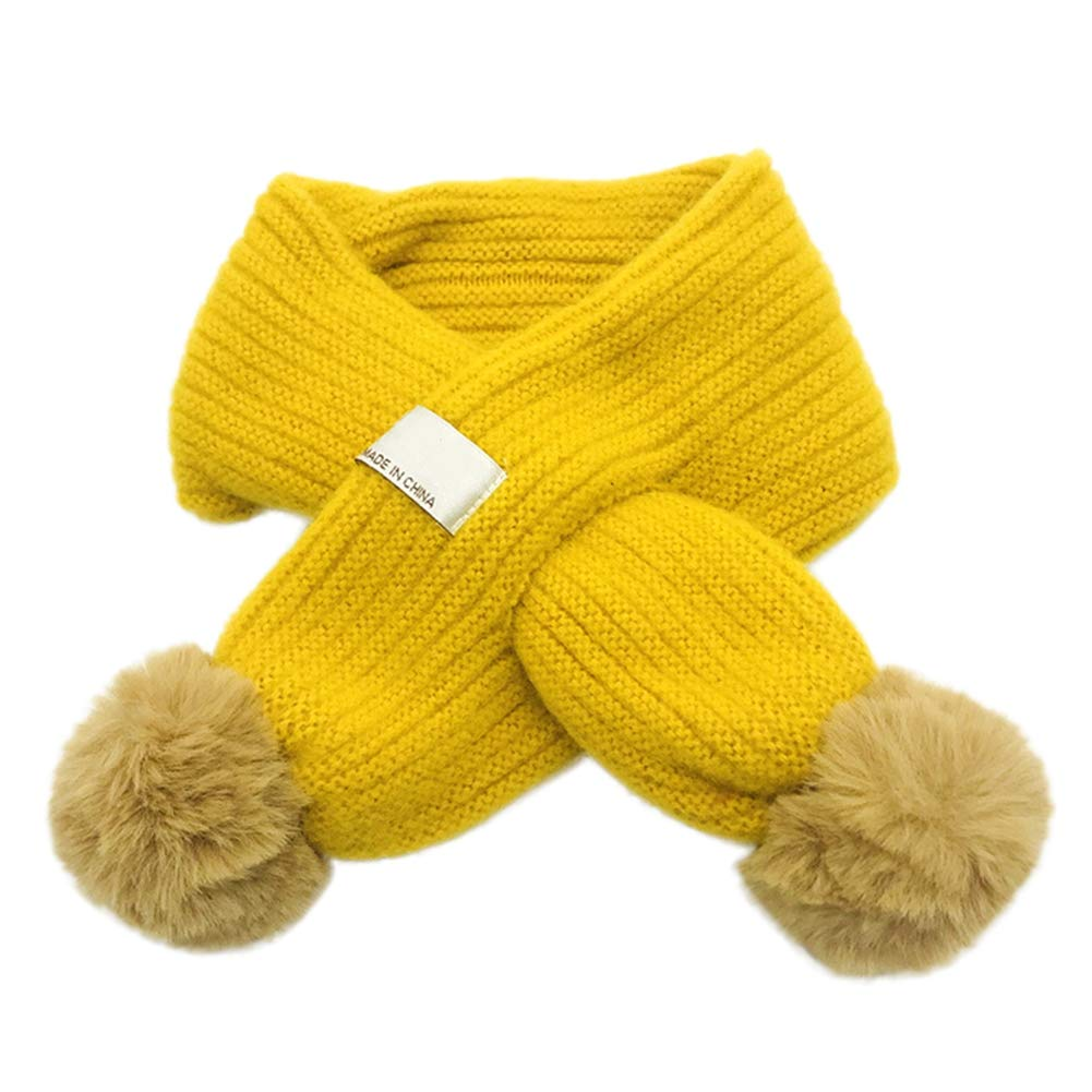 BOBORA Baby Kids Knitted Scarf Girls Boys Winter Warm Neck Warmer Scaves with Faux Fux Balls for 1-10Years