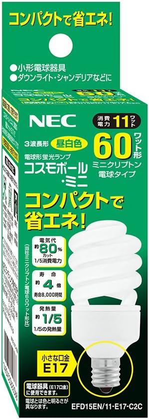 Amazon Nec 電球形蛍光灯 コスモボール ミニ 60w E17 昼白色 Efd15en 11 E17 C2c Necライティング 電球形蛍光灯 通販