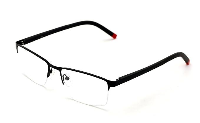 467e8e7150c V.W.E. Men Half Rimless Rectangular Non-prescription Glasses Frame Clear  Lens Eyeglasses Slim (Black