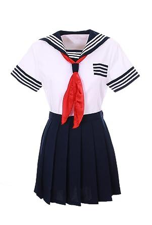 Disfraz de colegiala japonesa Cosplay, azul / negro con pañuelo ...