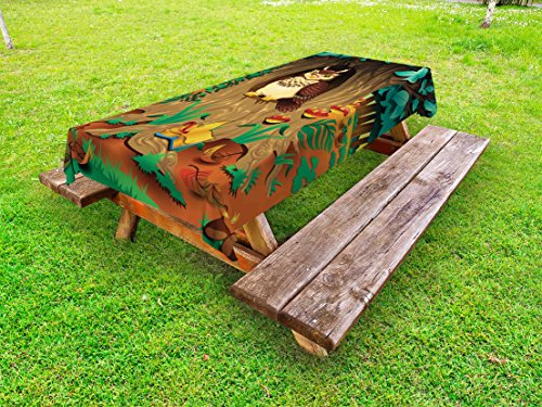 Ambesonne Owl Outdoor Tablecloth, Old Wise Nanny Grandma Owl in The Chestnut Tree Hallow Looking Through Sage Character, Decorative Washable Picnic Table Cloth, 58