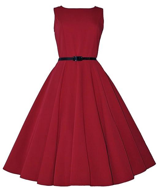 Classic 50 s Full Circle Audrey Hepburn retro de estilo vintage Rojo Swing Vestido Rojo