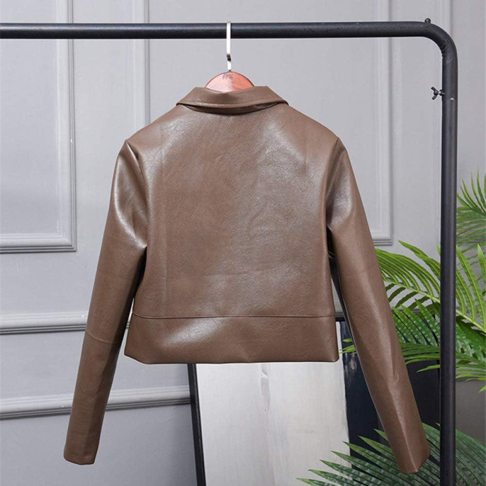 Veste en Cuir Femme,Femmes Manteau Automne Hiver Faux Vestes en Cuir Souple Manteaux Dame Noir PU Moto Streetwear en Cuir Veste Courte Biker Tops Vêtements pour Femme Camel Brown