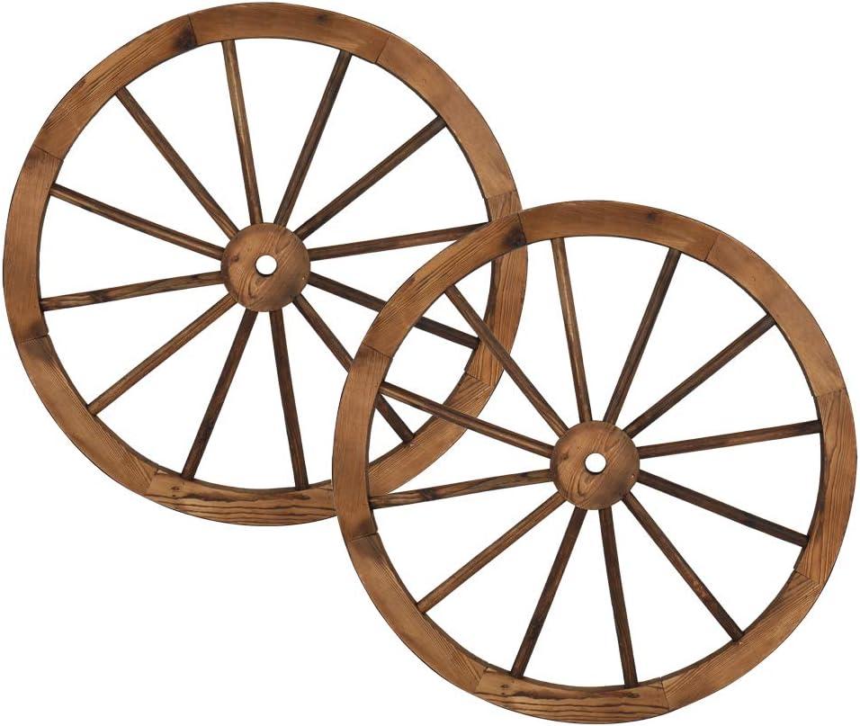 Babody 2pcs Wooden Wagon Wheel Decorative Wall Hanging, Old Western Style Garden Art Wall Decor Wooden Wagon Wheel for Yard or Garden Decor, 30-Inch